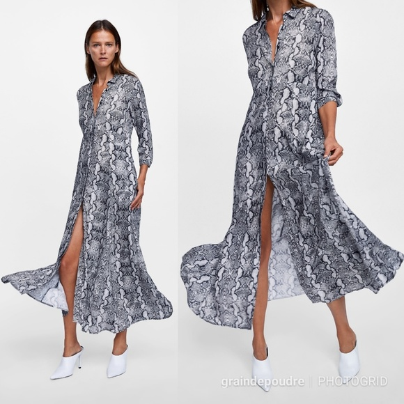 7a9bddec Zara Snake Print Full Skirt Shirt Maxi Dress XS